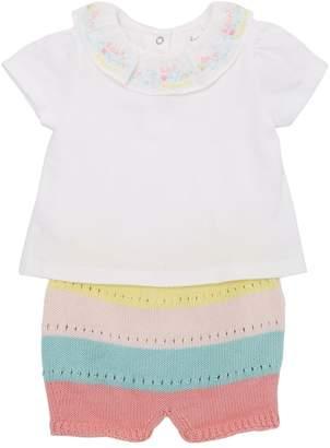 Cotton Jersey Bodysuit & Knit Shorts