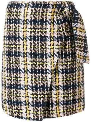 Steffen Schraut knitted wrapped plaid skirt
