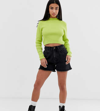 Collusion COLLUSION Petite mom shorts in washed black