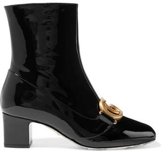 3da78187ce8 Gucci Logo-embellished Patent-leather Ankle Boots - Black