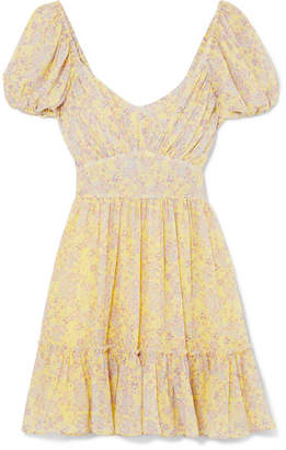 LoveShackFancy Ashley Gathered Floral-print Silk-georgette Mini Dress - Pastel yellow