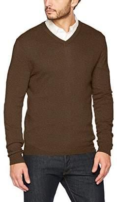 Benetton Men's V Neck Sweater L/s Sweatshirt, (Brown 511), (Size: EL)