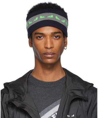 Fendi Navy and Green Wool Bag Bugs Headband