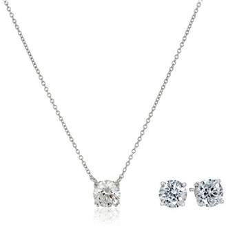 Platinum Plated Sterling Swarovski Zirconia Pendant Necklace and Stud Earring Jewelry Set