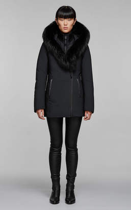 Mackage ADALI-PX fitted hip length down jacket with silverfox fur