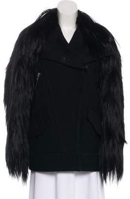 Sonia Rykiel Faux Fur-Trimmed Wool Jacket