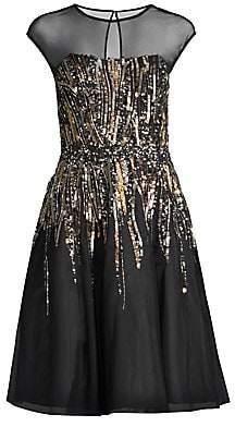 Aidan Mattox Women's Sequined Tea Length Cocktail Dress