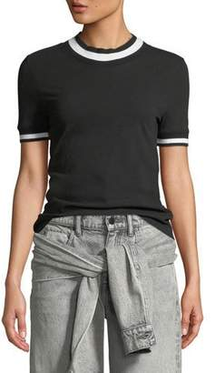 Alexander Wang Twist Jersey Short-Sleeve Tee with Striped Trim