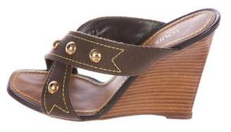 Louis Vuitton Woven Studded Wedges