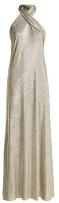 Pandora Galvan Lurex Halterneck Gown - Womens - Silver