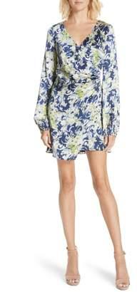 AMUR Fran Floral Print Ruched Silk Dress