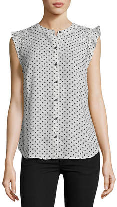 5Twelve Polka-Dot Button-Down Sleeveless Blouse