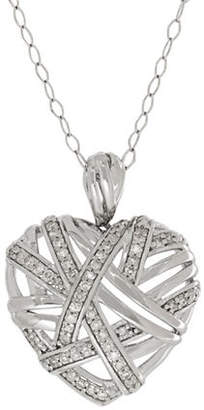 Tag Heuer FINE JEWELLERY Sterling Silver 0.25 TCW Diamond Heart Pendant Necklace