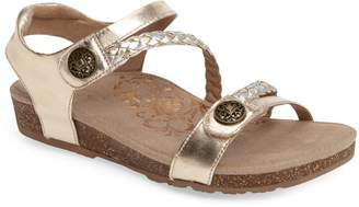 Aetrex 'Jillian' Braided Leather Strap Sandal