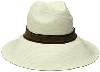 Ale By Alessandra Women's Grosvenor Fine Panama Hat with Two-Tone Canvas Trim