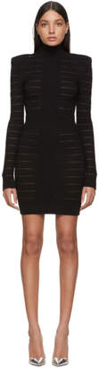 Balmain Black Medical Stripe High Neck Dress