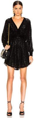 Balmain Velvet Burnout Long Sleeve Mini Dress