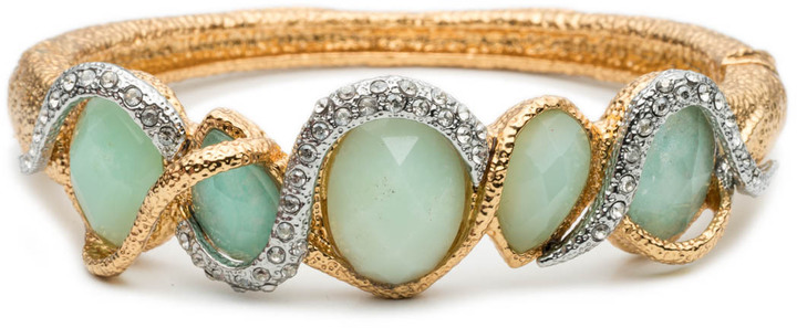 Alexis BittarMaldivian Multi-Stone Stacking Hinged Bracelet with Chrysoprase and Amazonite Doublets