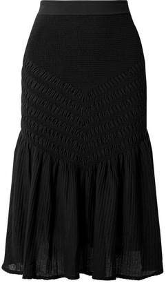 Jonathan Simkhai Smocked Stretch Cotton-blend Midi Skirt - Black
