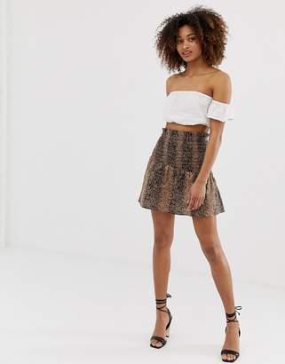 Asos Design DESIGN shirred mini skirt in snake print