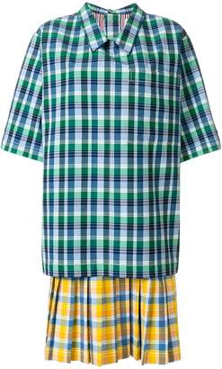 Thom Browne Polo Collar Pleated Bottom Dreshort Sleeve In Small Madras Check Double Woven Cotton