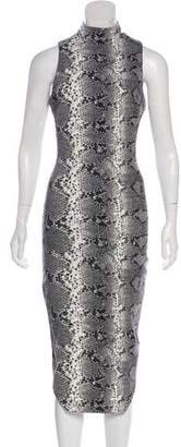 Elizabeth and James Snakeskin Midi Dress