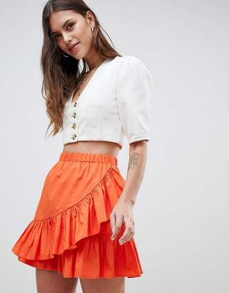 Asos Design Cotton Mini Skirt With Wrap Detail