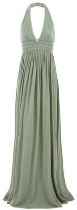 La Perla Evening Looks Green Long Silk Stretch Chiffon Halterneck Dress With Beads