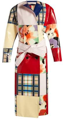Marni - Patchwork Belted Leather Coat - Womens - Red Multi