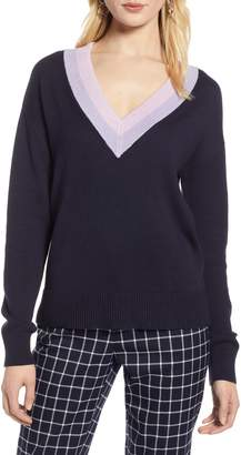 Halogen Shimmer V-Neck Sweater