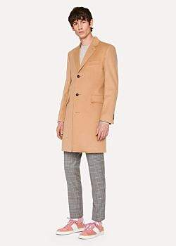 Paul Smith Men's Camel Wool And Cashmere-Blend Overcoat