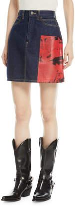 Calvin Klein Andy Warhol Digital-Print A-Line Denim Skirt