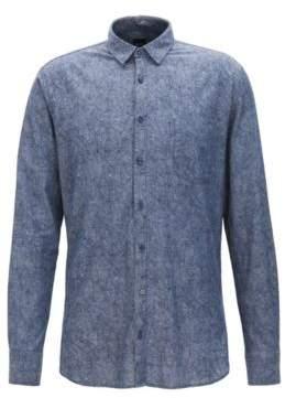 BOSS Hugo Leaf-Print Chambray Cotton Sport Shirt, Slim Fit Cattitude L Dark Blue