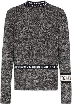 Calvin Klein Jeans Est. 1978 mock neck logo stripe knitted jumper