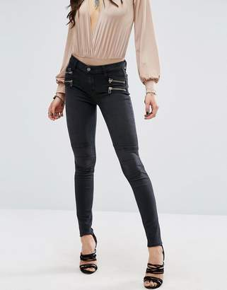 Lovers + Friends Cole Biker Jeans With Zips