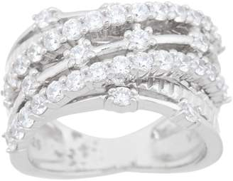 Diamonique Multi-Row Crossover Ring, Sterling Silver