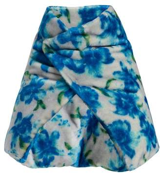 Jil Sander Floral Wrap Scarf - Womens - Blue
