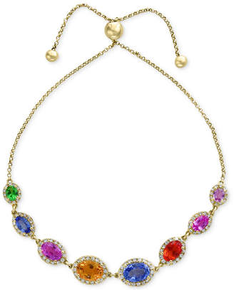 Effy Watercolors by Multi-Gemstone (4-1/10 ct. t.w.) & Diamond (1/2 ct. t.w.) Slider Bracelet in 14k Gold