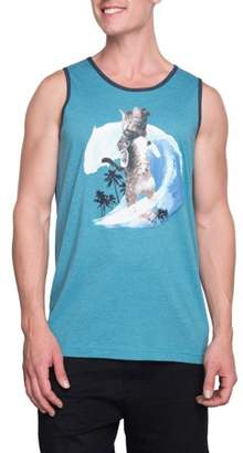 Humör George Men's Surfing Cat Graphic Tank, Up to Size 3XL