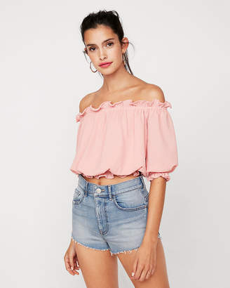 Express Petite Textured Off The Shoulder Cropped Top
