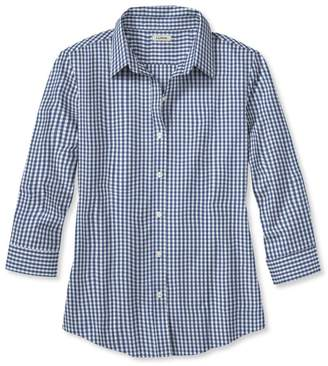 L.L. Bean L.L.Bean Wrinkle-Free Pinpoint Oxford Shirt, Three-Quarter Sleeve Slightly Fitted Gingham