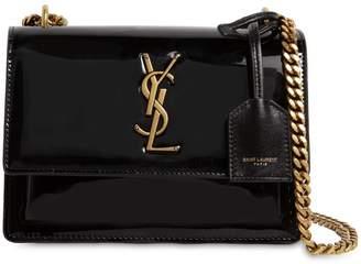 Saint Laurent Small Sunset Patent Leather Shoulder Bag