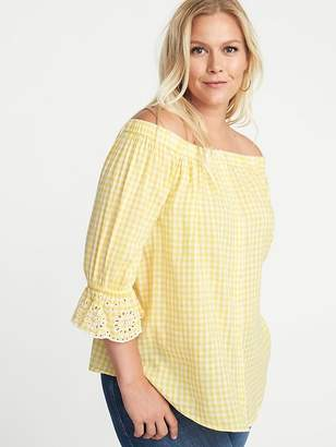 Old Navy Off-the-Shoulder Plus-Size Button-Front No-Peek Blouse