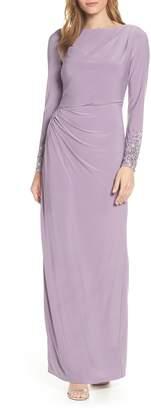 Vince Camuto Embellished Sleeve Ruched Evening Dress