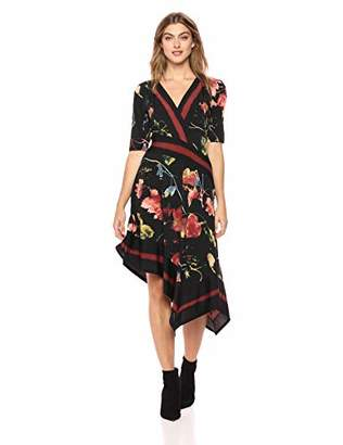 BCBGMAXAZRIA Azria Women's Floral Asymmetrical Faux Wrap Dress