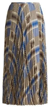 Joseph - Abbot Pleated Silk Crepe Midi Skirt - Womens - Blue Print