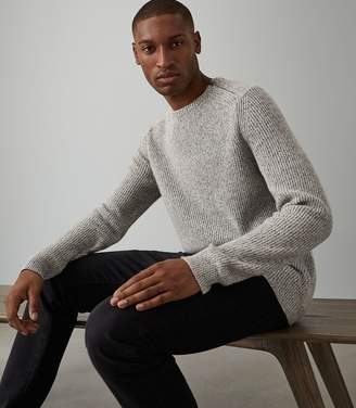 Reiss MORGAN RIBBED CREW NECK JUMPER Light Grey