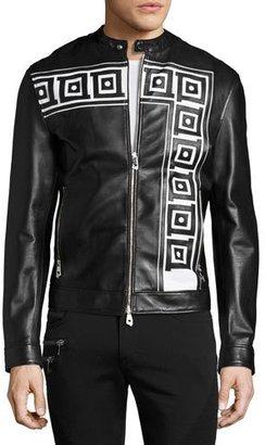 Versace Collection Greek Key Leather Cafe Racer Jacket, Black $1,625 thestylecure.com