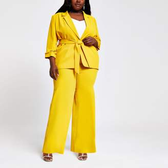 River Island Womens Plus Yellow wide leg trousers