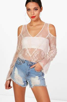 boohoo Aimee Lace Frill Cold Shoulder Top